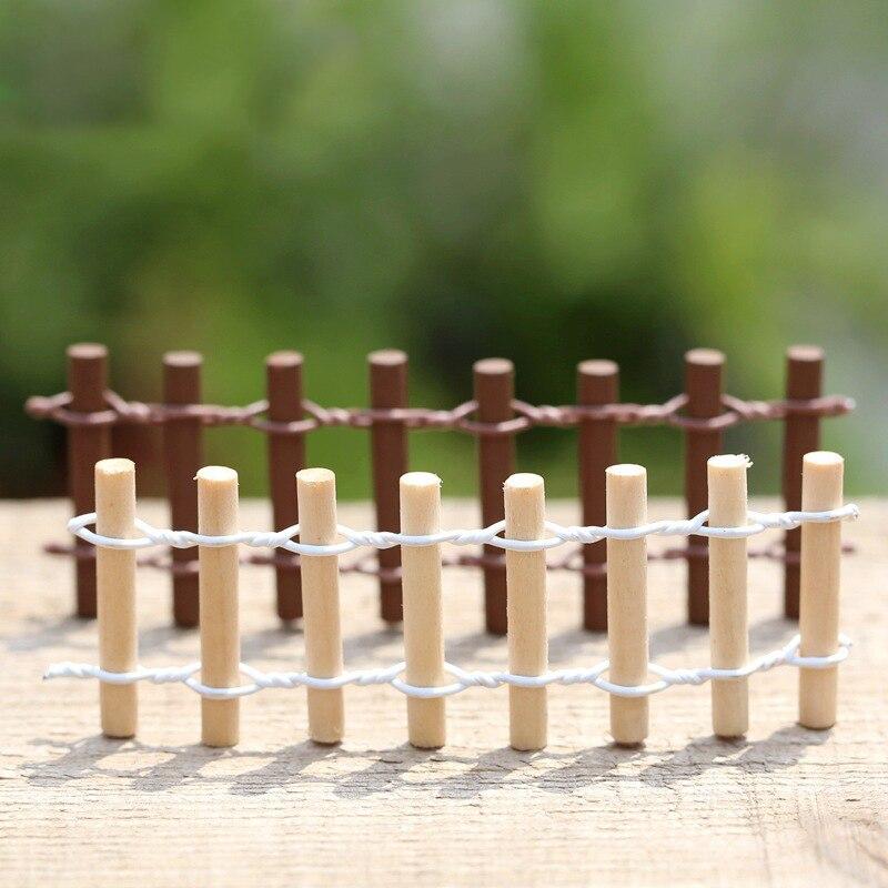 10PCS Round Wood Fence Mini Fairy Garden Miniatures DIY Doll House Terrarium Bonsai Home Succulents Micro Landscape Decoration