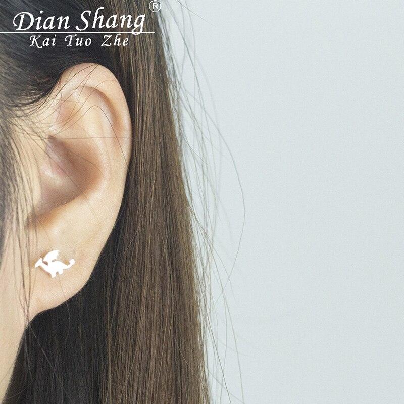 DIANSHANGKAITUOZHE Boucle Stainless Steel Gold Silver Brincos Jurassic Dinosaurs Stud Earrings For Women Men Boho Jewelry BFF