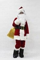 2017 Nuovo Arrivo Costume di Babbo Natale Vestiti Cosplay di Natale tuta Top Pantaloni Cappello Parrucca Barba Cintura Scarpa Guanti Bianchi occhiali