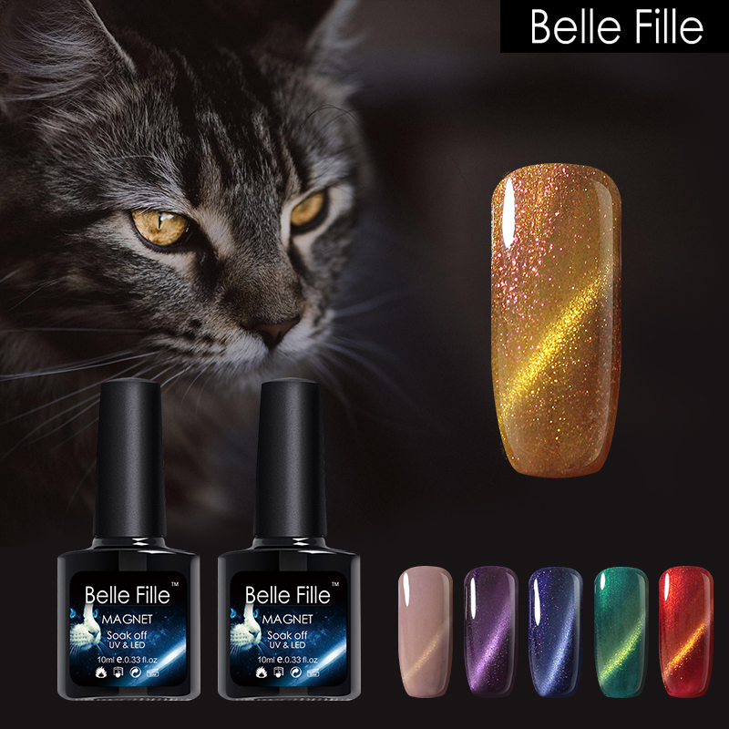 BELLE FILLE Nail Gel Polish 3D Magnetic Cat Eyes UV Varnish LED Lamp Bling Varnish Long Lasting 3D Magnetic Cat Eye Gel Nail Art