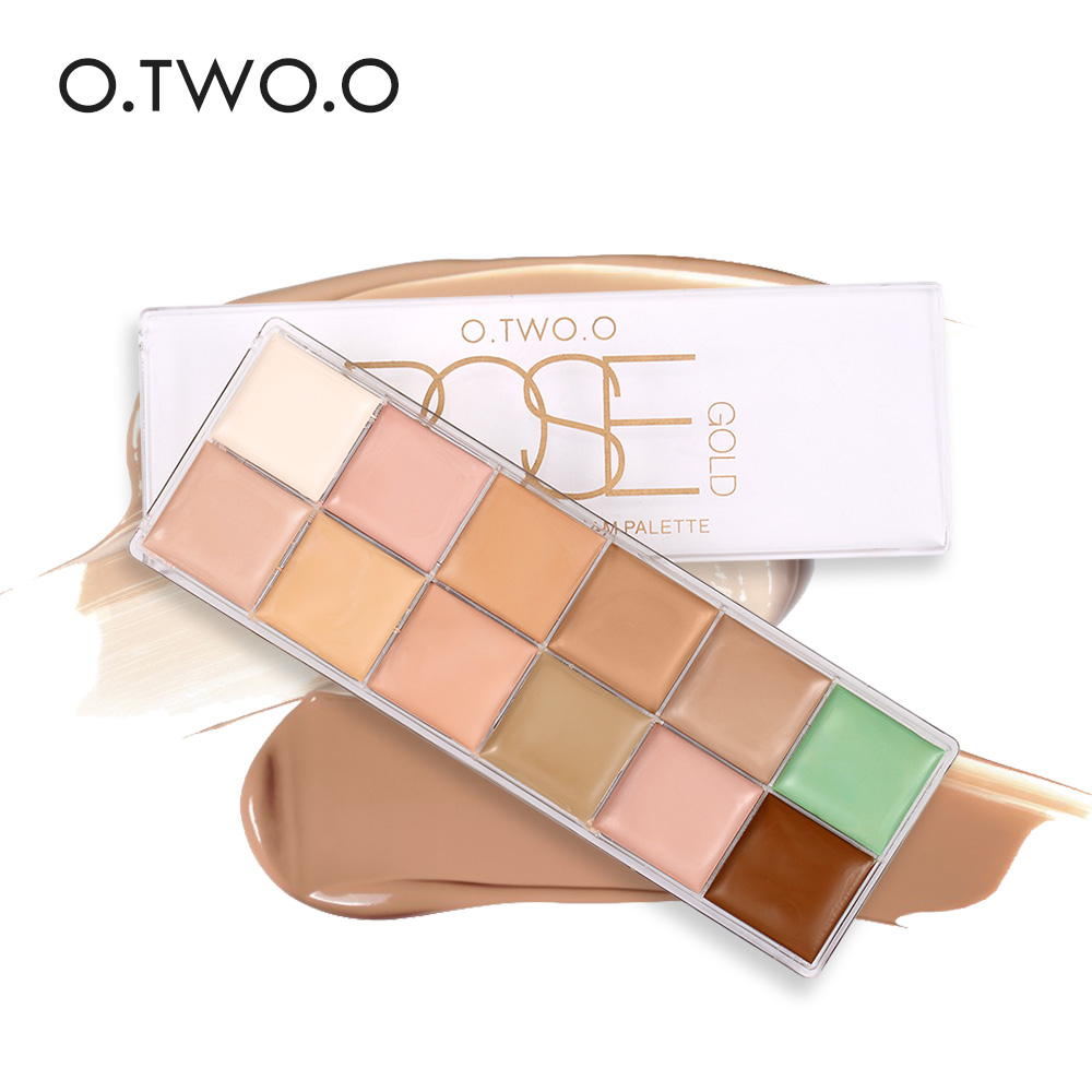 O.TWO.O 12 Colors Concealer Palette Makeup Concealer Brightener Makeup Lasting Waterproof Contour kit Corrector for Face 15 colors makeup concealer brush cream palette