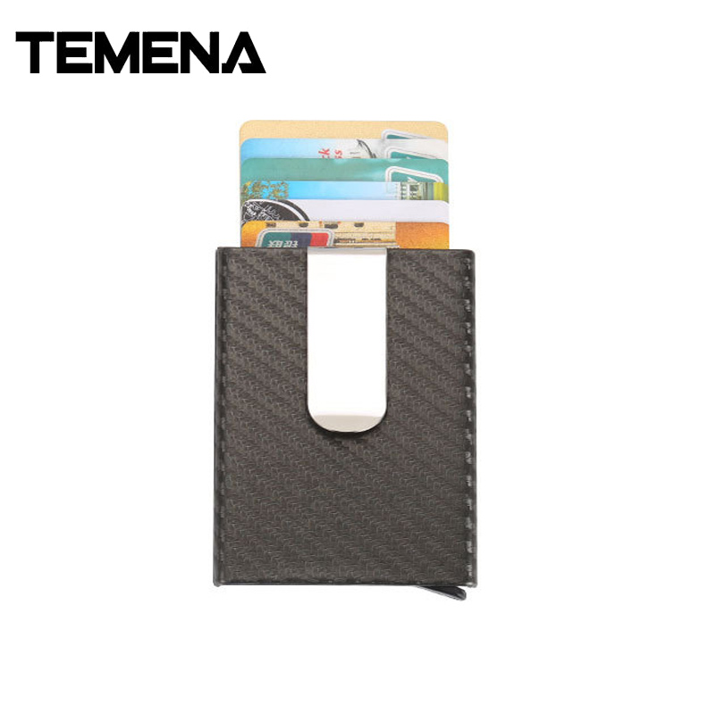 Temen New Carbon Fiber PU Leather ID Metal Credit Card Holder Automatic Slide Card Case  ...
