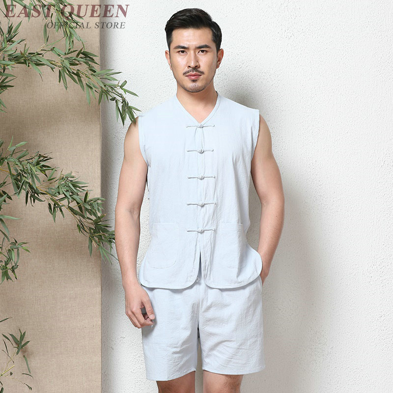 Online chinese store traditional sundress chinese clothing for men two piece set top and pants hot new trends 2018 AA3852 Y A image