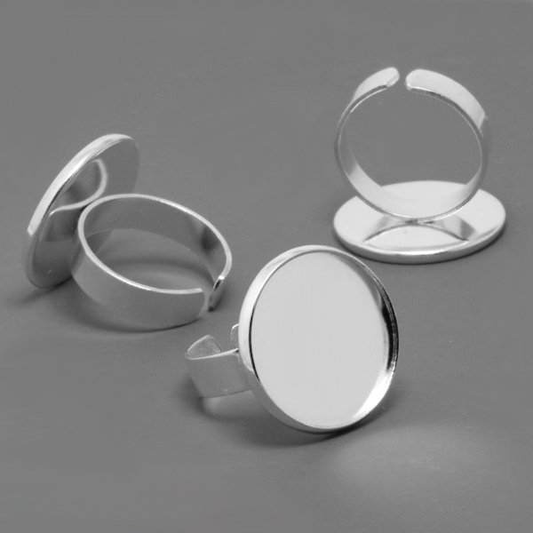 10pcs 16/20mm Fashion DIY Silver-Plated White Ring Blank Bezel Setting Tray Diy Handmade Cabochons Base Vintage Diy Jewelry