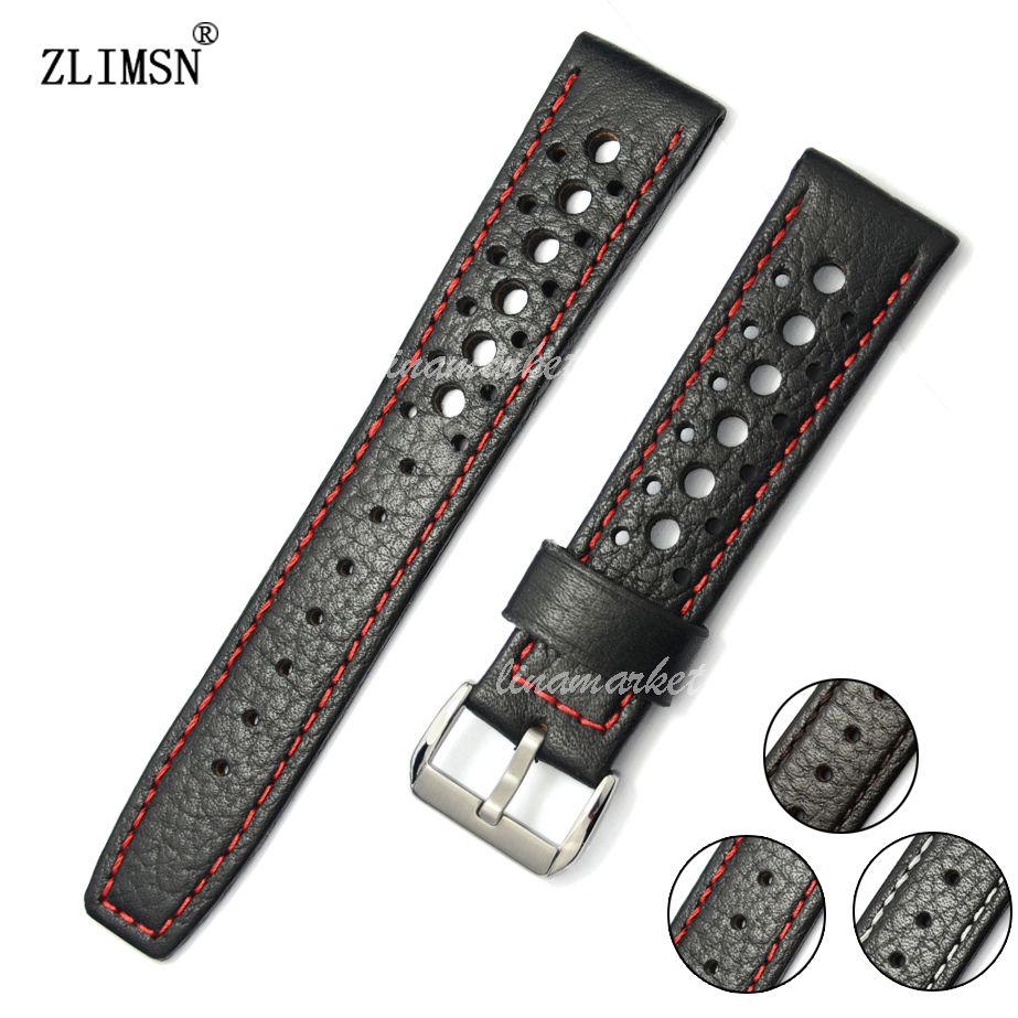 ZLIMSN Genuine Leather Watch Strap 20 22mm Watchband Black Brown Band Men Women Watches Accessories Silver Buckle Relojes Hombre