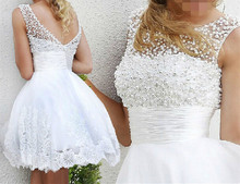 heap Price ! Good Quality ! 2016 New Arrival Free Shipping A Line Short Length White / Ivory Lace Pearl Wedding Dresses HE2555