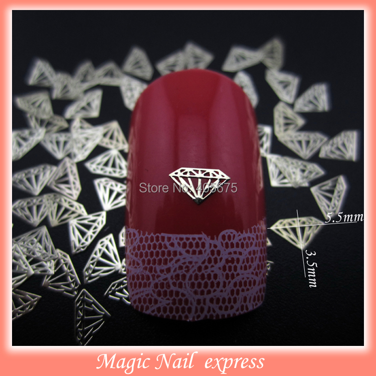 MNS136 3d nail diamond shape gold nail art sticker metal nail studs for nails decorations charms supplies 1000pcs/pack