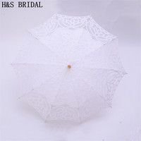 H&S BRIDAL Beige Lace Umbrella Parasol Embroidery Bride Umbrella White Wedding Umbrella Ombrelle Dentelle Parapluie Mariage