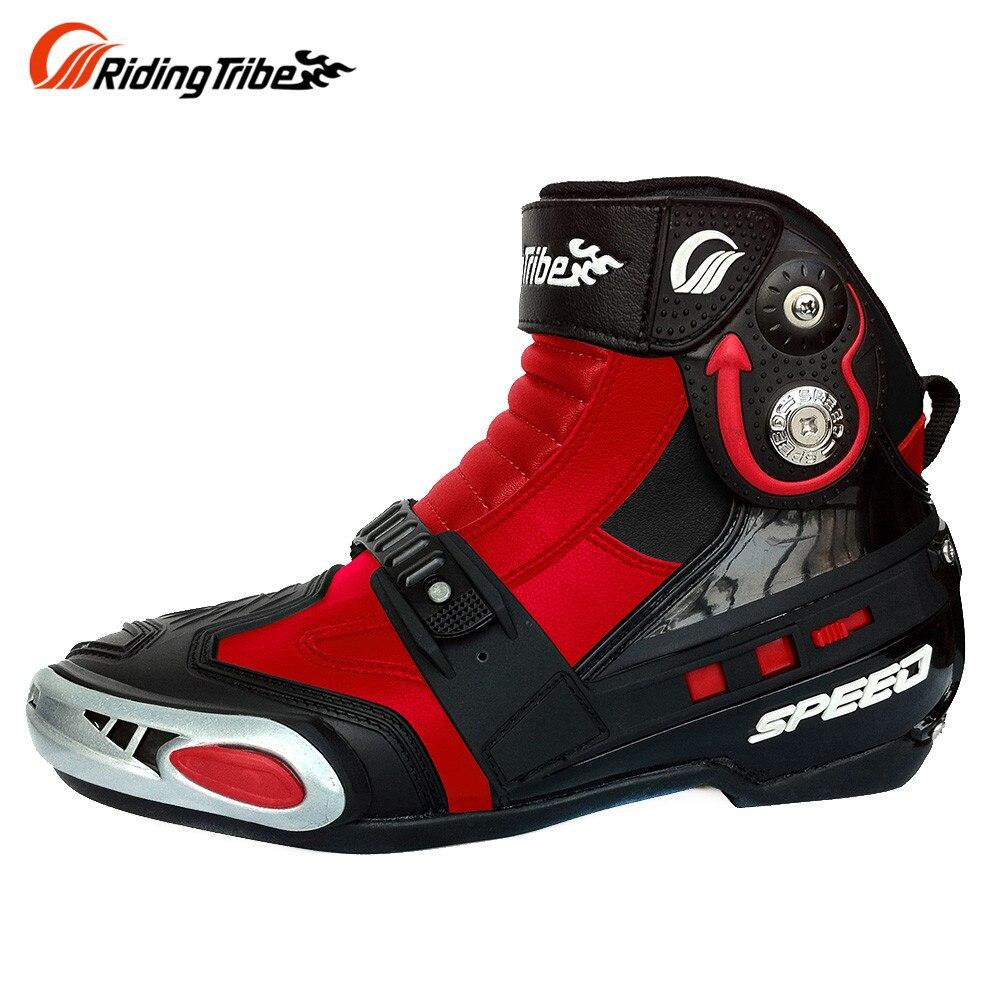 RidingTribe мотоцикла ботинки короткие сапоги прочный скольжения сопротивление Рыцарь езда мотоцикл шоссейные обувь для мужчин и женщин