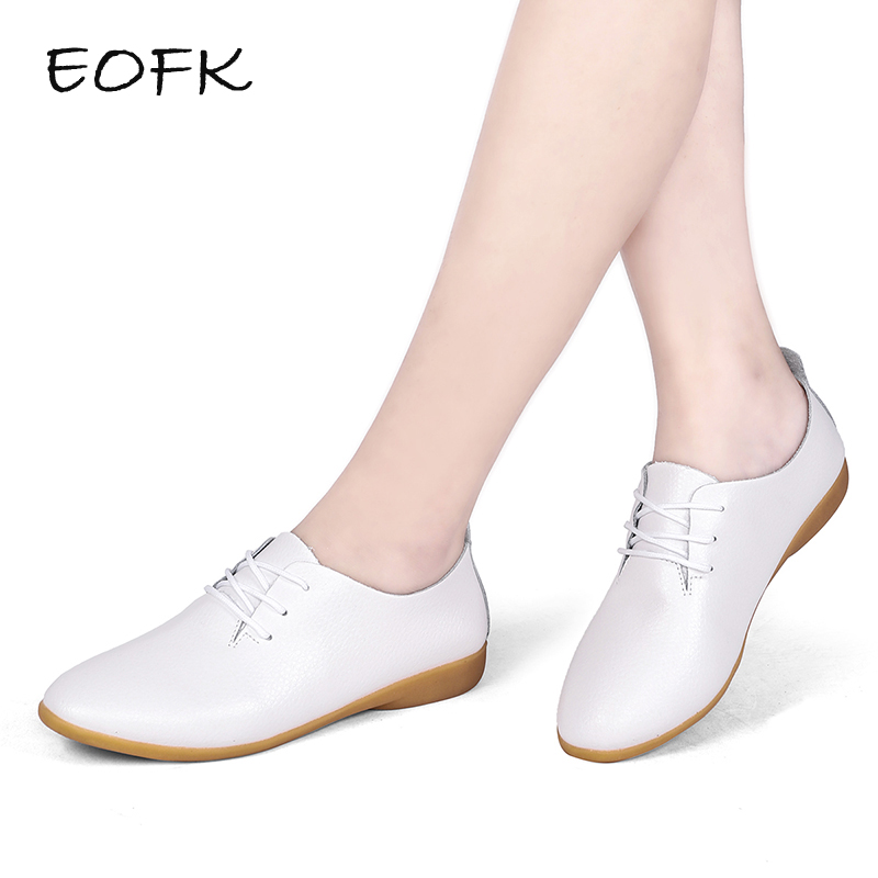 EOFK Women Flats Shoes Woman Oxfords Genuine Leather Lace Up Female Casual Oxford Ladies White Flat Plus Large size Shoes women oxfords flats shoes leather lace up platform shoes woman 2016 brand fashion female casual white creepers shoes ladies 801