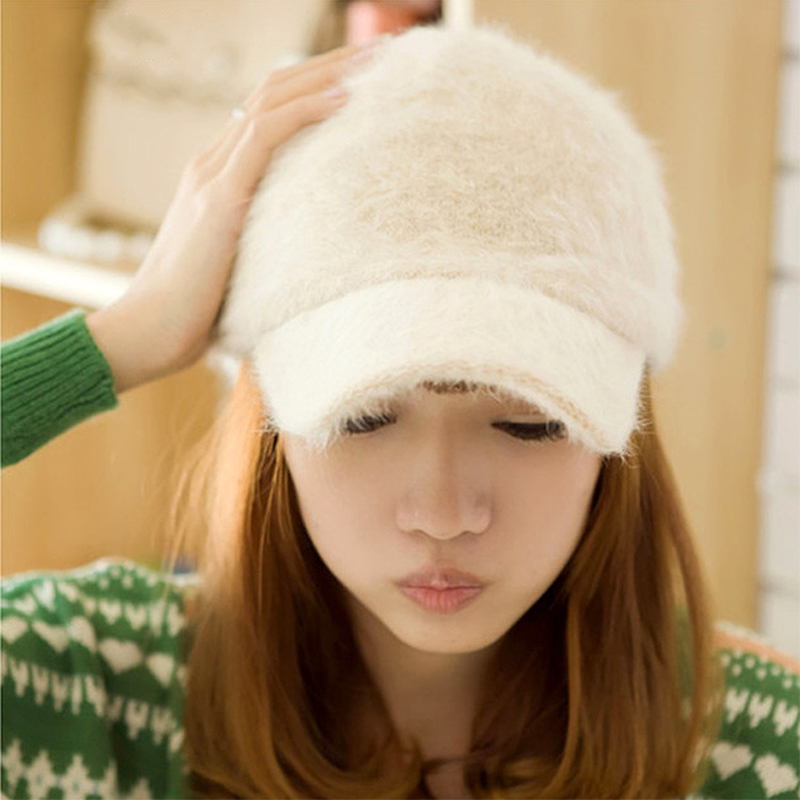 VORON 2017 new Winter Rabbit fur baseball caps fashion women Outdoor sports Warm hats cap gorras snapback Hip-Hop Wool hat 2017 winter hat for women men women s knitted hats wrinkle bonnet hip hop warm baggy cap wool gorros hat female skullies beanies
