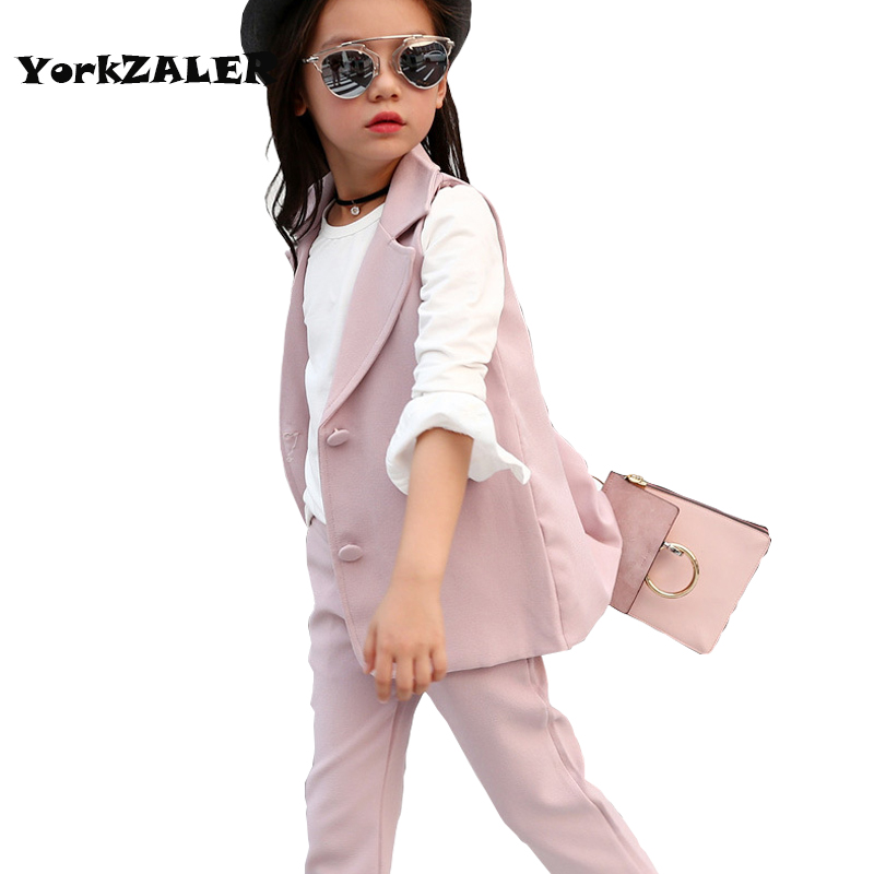 New girls 3pcs clothing suit vest white shirt and trousers high quality winter outerwear clothing suit for kids girl clothes caranfier winter men jeans classic gray blue trousers brand clothing 2017 new fashion casual trousers male quality pants 36 38