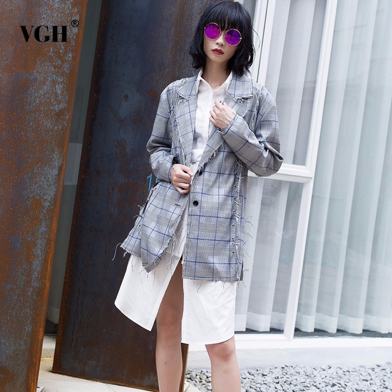 VGH Plaid Womens Blazer Metal Ring Notches Long Sleeve Single Breasted Coat Female Metal Ring Patchwork Loose Tops Fashion New