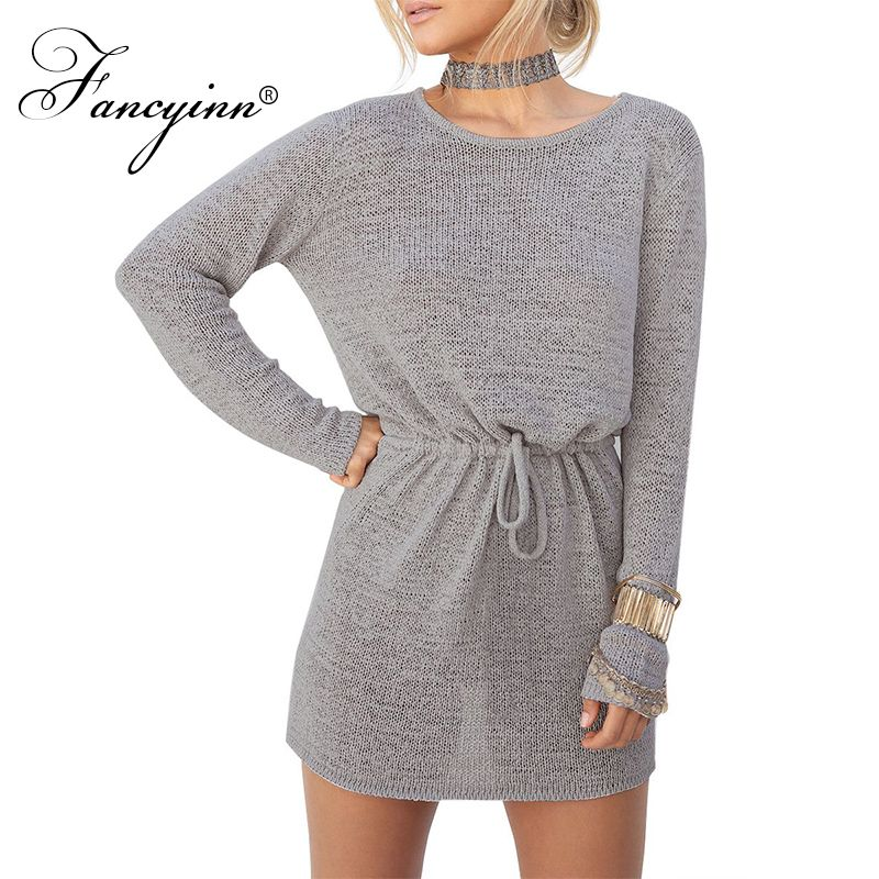 FANCYINN Women Casual Autumn Long Sleeve Knitted Open Back Tunic Mini Sweater Dress alfani women s long sleeve marilyn cowl neck tunic sweater emerald 2x