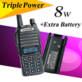 BaoFeng UV-82 8w UV-82HX Portable Radio 10KM Walkie Talkie, Sister amateur radio baofeng uv-5r for hunting radio +Extra Battery