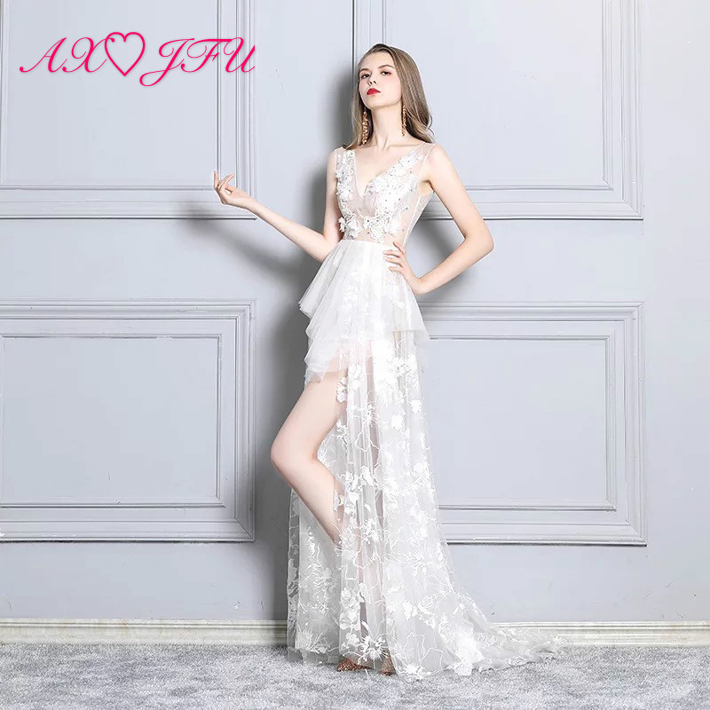 AXJFU White Deep V-neck Sexy Fishtail Perspective flower lace mermaid   evening     dress   Model Club Night trumpet pink   Evening     Dress