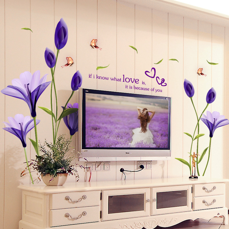 Romantic Graceful Purple Flower Bedroom Living Room TV Wall Decorative Wall Sticker Mural Wall Decal Stickers Art Wallpaper