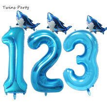 Twins 2pcs Shark Baby Shower Birthday Party Balloons Marine Theme Park Decoration kids Supplies