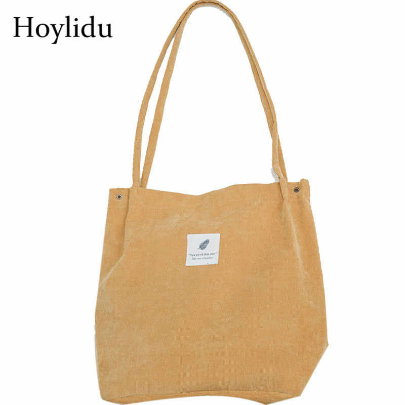 b6b9df992 Detail Feedback Questions about Reusable Shopping Bag Corduroy Shoulder  Canvas Tote Bags Women 2018 Casual Solid Eco Shopper Handbag Travel Cloth  Grocery ...