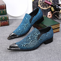 Luxury Metallic Toe Men Prom Shoes Mocassim Masculino Pointed Toe Formal Shoes Print Leather Men Blue Loafers Plus Size 38-46