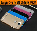 Para zte blade hn v993w pc caja trasera + chapa de aluminio parachoques del metal marco para zte blade hn v993w protectora del teléfono móvil cubierta