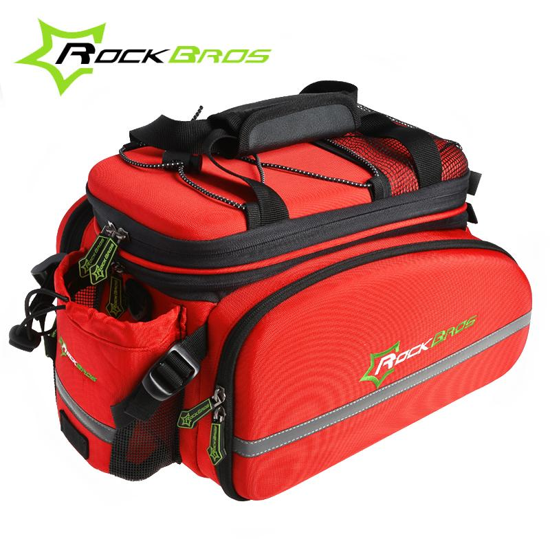 RockBros Multifunctional Bike Bicycle Rear Carrier Bags Bleta Rear Pack Trunk Pannier Cycling Rear Saddle Pack Bag, Red roswheel 50l bicycle waterproof bag retro canvas bike carrier bag cycling double side rear rack tail seat trunk pannier two bags