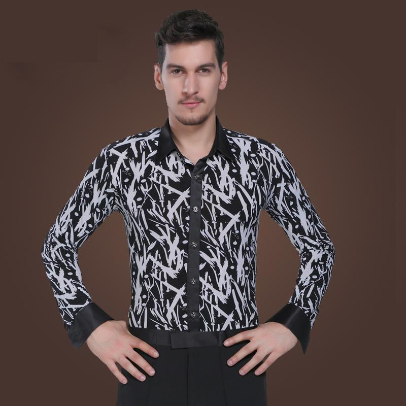 Dance Male Ballroom Shirts Standard National Practice Long Sleeve Modern Dance Costume Ball Performance Latin Top Mans Shirt