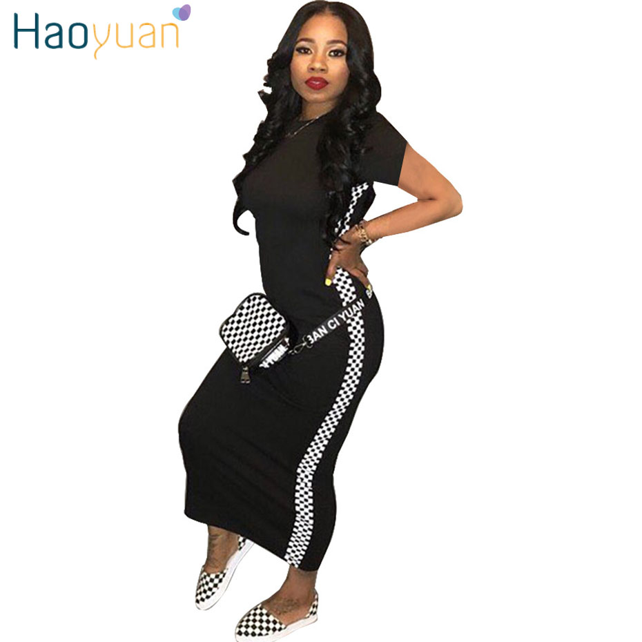 fcff7be389 HAOYUAN Women plus size dress vestidos 2018 summer dresses striped half  sleeve street wear beach robe sexy ...