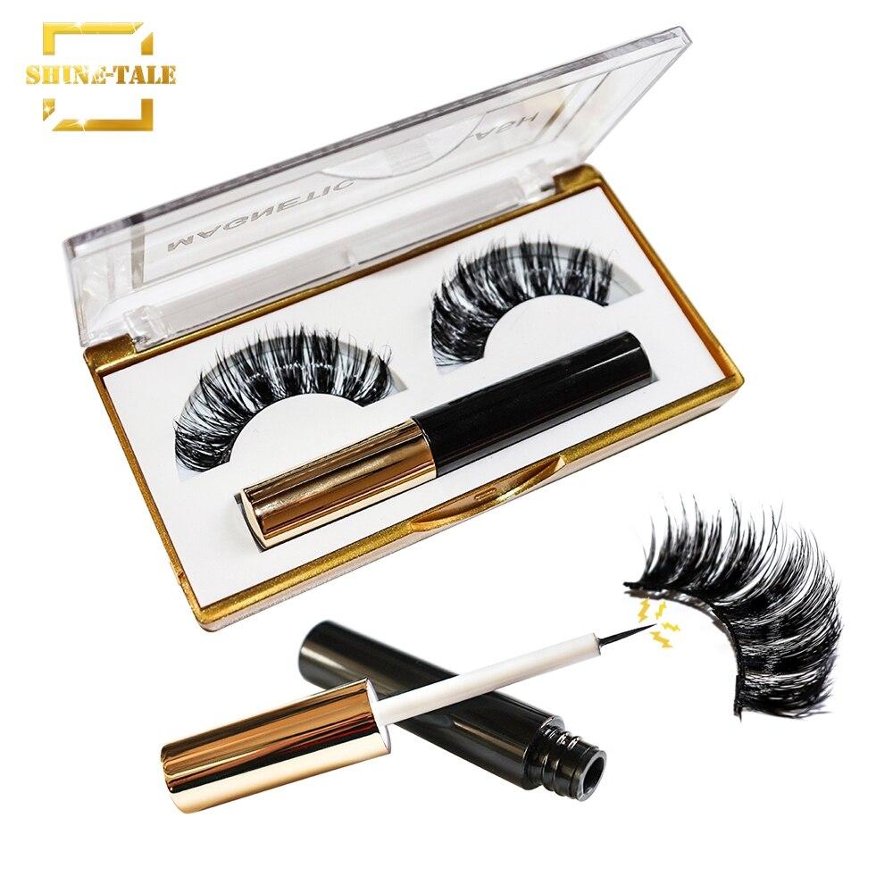 Shine-Tale 2019 New Magnetic Eyeliner With Magnetic Eyelashes Reusable 3D Eyelashes Magnets  Lashes False Eyelashes