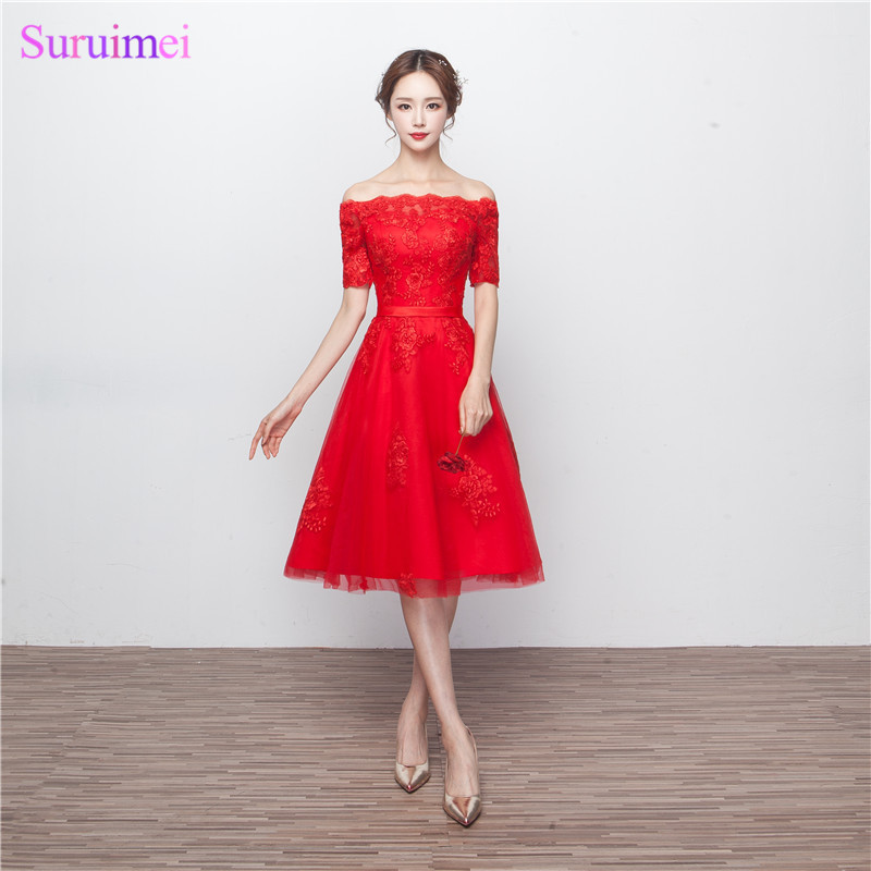 Free shipping French Lace High Quality Short Sleeve Knee Length Short Bridesmaid  Dresses Damas De Honor Cortos aa0740a3ae94