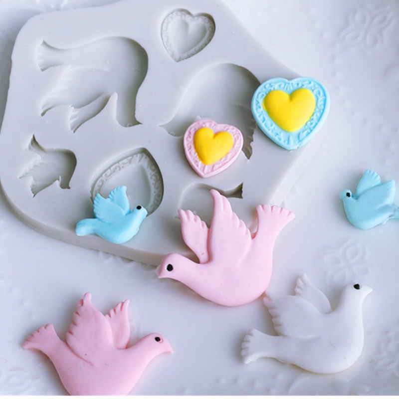 Pigeon Bird Shape Silicone Mold Fondant Chocolate Mold Soft Clay Clay Tool J099/J100