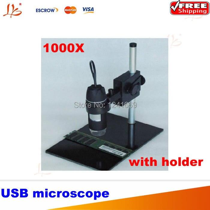 Portable Digital USB microscope 1000X 2.0Mwith gymbals, 8- LED Endoscope with holder portable microscope digital microscoop standaard led light with stand mikroskop microscopio
