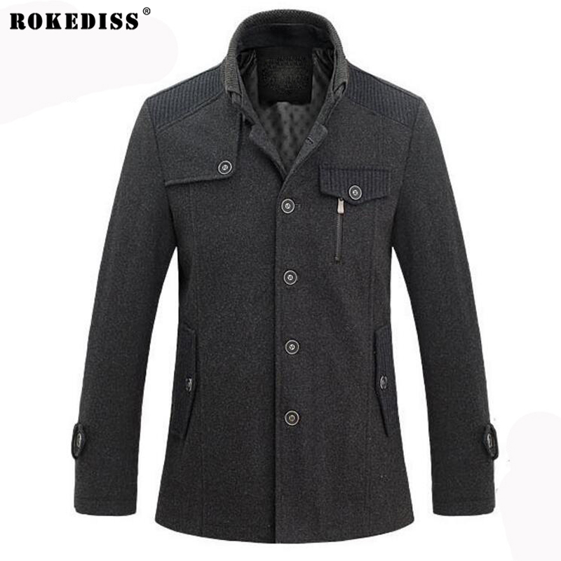 ROKEDISS Brand Clothing 2017 Winter Jakets For Men stand-up collar mens windbreaker jacket thickened warm woolen coat Z226 ...