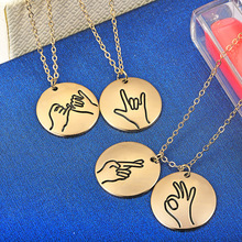 New creative hand-designed sign language round pendant necklace I love you gestures Friend sister girlfriend necklace andrew lansdown gestures of love