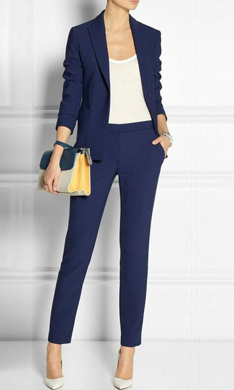 Navy Blue 2 piece set wome suits blazer suit set ladies winter formal suits womens tuxedo female business work suit CUSTOM