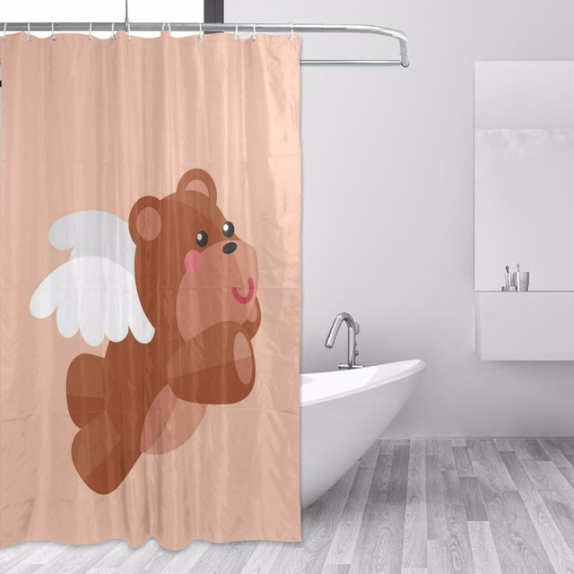 152x183cm Brown Shower Curtain Waterproof With Hooks Mildew Mold Resistant Polyester Curtains Teddy Bear Bathroom