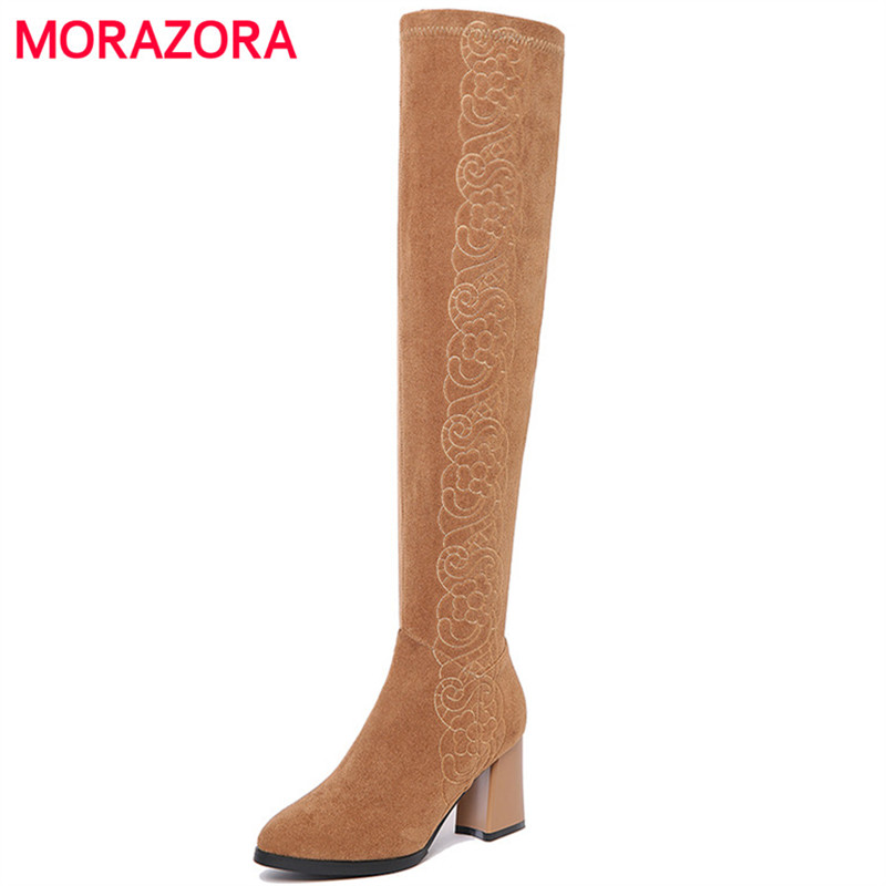 MORAZORA Thigh high boots cow suede shoes woman high heels boots spring early winter elegant fashion boots embroidery size 34-41