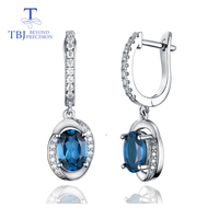 TBJ,new design natural London topaz clasp drop earring 925 sterling silver Fashion fine jewelry as woman daily wear preferred