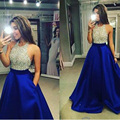 Sexy Halter Beaded Hot Selling Prom Dresses Charmming Satin Backless Gold Silver Sequins Party Dresses vestido de festa longo