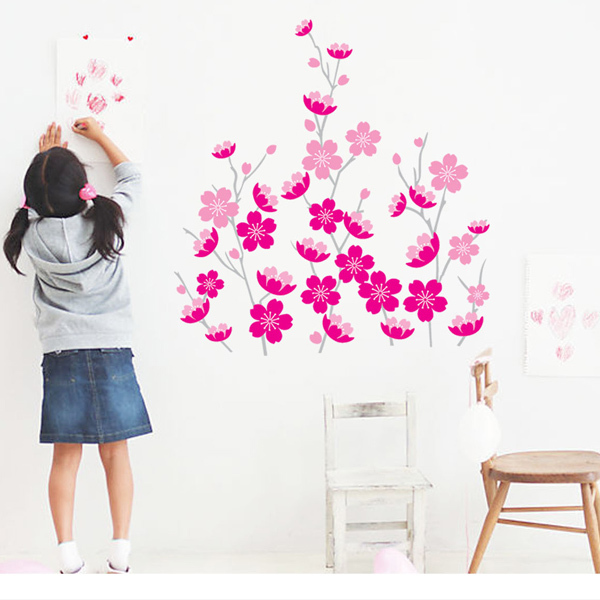 Hot Removable Beautiful Pink Flower Wall Stickers Glass Stickers Diy