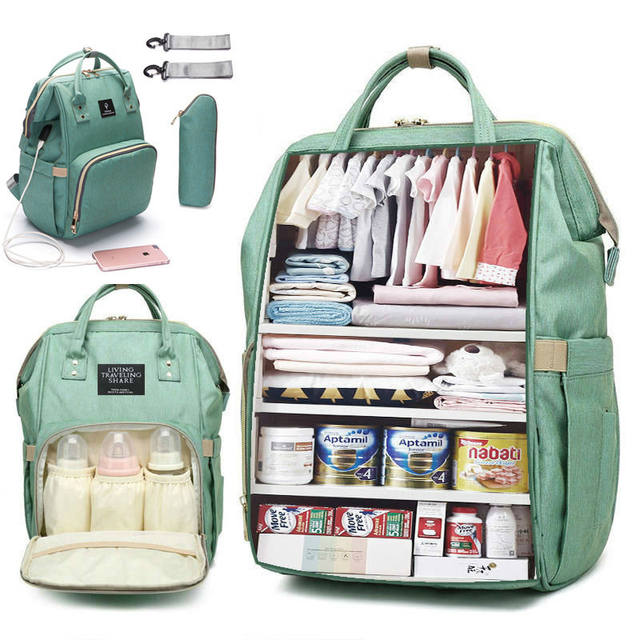 Baby Large Capacity Diaper Bag Backpack Waterproof Maternity Bag with USB Interface