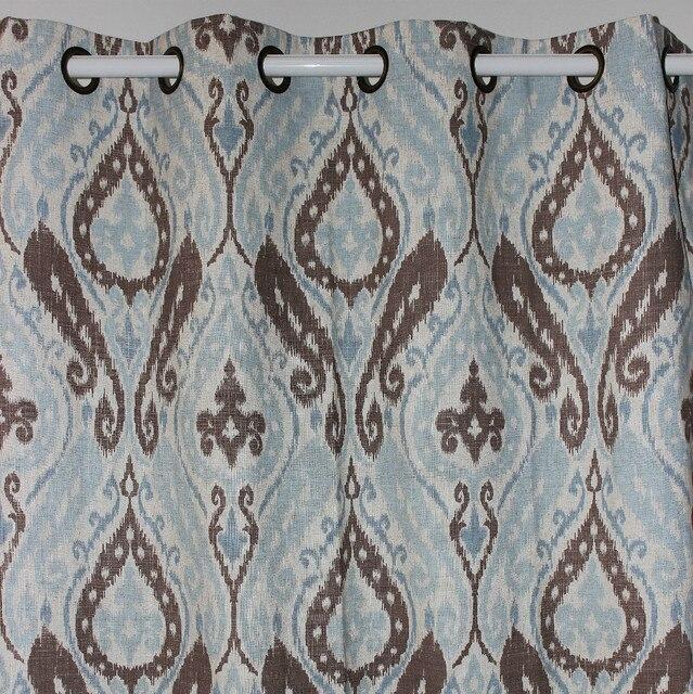 New Light Blue Paisley Linen Window Ready Curtains Panel Door Bedroom Living Room Home Decor 51