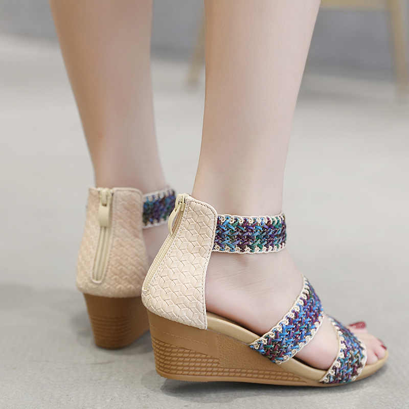 2832d206e278 Yu Kube Summer Shoes Woman Sandals Braided Sandalias Mujer 2019 Ankle Wrap Wedges  Shoes For Women