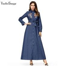 2018 denim muçulmano vestido longo maxi mulheres uma linha swing abaya  single-breasted lapela camisa vestidos outono chic flor b. 06871d882e3