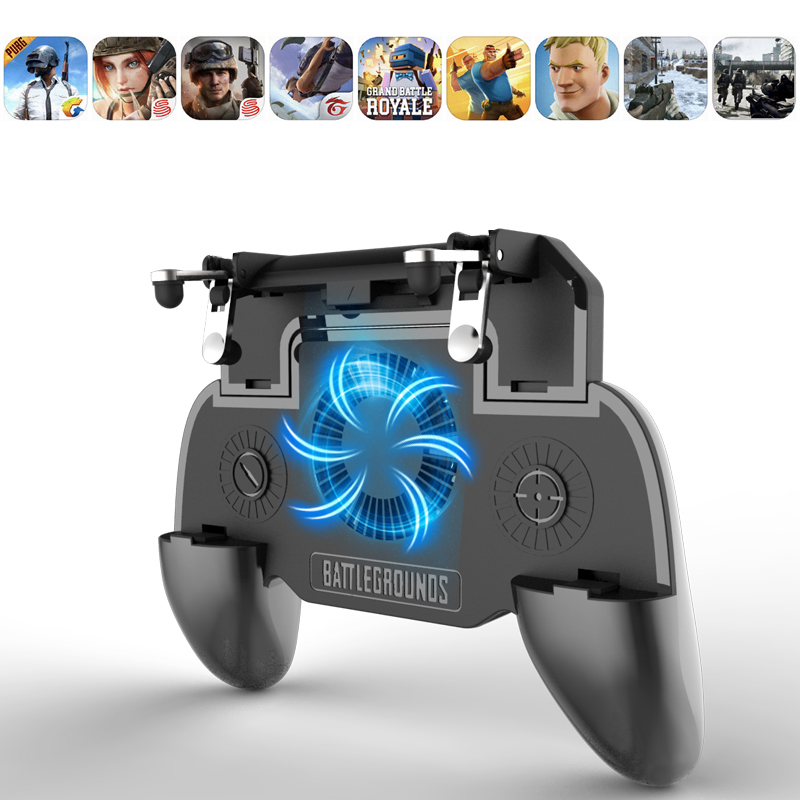 Pubg Controller Gamepad Pubg Mobile Trigger L1R1 Shooter Joystick Game Pad Phone Holder Cooler Fan with 2000/4000mAh Power Bank image
