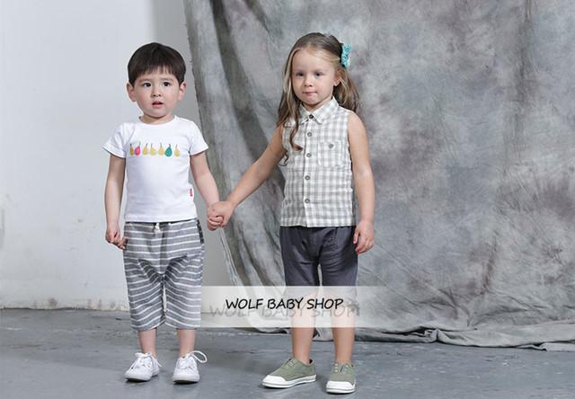 Retail niños del bebé Ropa niños Ropa raya recortada pantalones pantalones Trajes de Niños 2014 nuevo envío libre