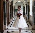 Старинные Кружева Дешевые Свадебные Платья Под 100 Среднего Теленок Короткие свадебные Платья 2016 Лодка Шеи Alibaba Розничный Магазин vestidos de novia