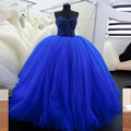 Bling azul vestido de baile vestidos Quinceanera azul Royal com querida Beads longa Tulle Formal Party Dress Prom vestidos 2016