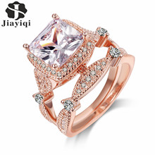 2017 Top Quality Rose Gold Plated Ring Sets for Women Cubic Zircon Wedding Engagement Jewelry with free gift box