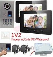 Video Telephone Doors system Wirde Door bell Fingerprint/code unlock 7Inch color LCD Screen CCD Camera IP65 waterproof Kit 1v2
